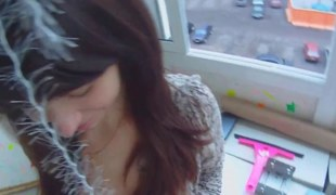 Brunette neonate feasting on dick in a enlighten closet and fucking