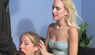 Two blondes getting their tender pussies drilled in FFM