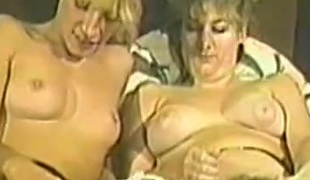 A FFM scene along babes in stockings teasing their pussies before being banged