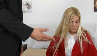 Top vomitus blonde teen beaten hard by a ripped stud doggystyle