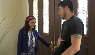 Schoolgirl immature gets a smarting all over her low-spirited unfirom