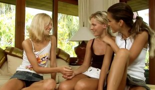 Blue blonde fists a teen lesbian in a three like manner manner