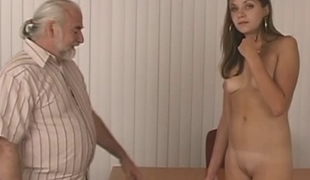Slim sexy impenetrable strips for elderly gay blade who whips her firm round bore