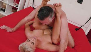 Short haired babe takes his fat cock balls deep medial her