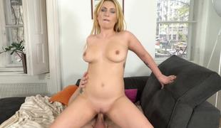 Natural tits bounce as A the young blonde rides old cock