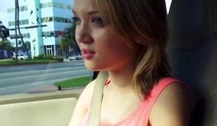 unannounced teeny facialized in a car talks a walk