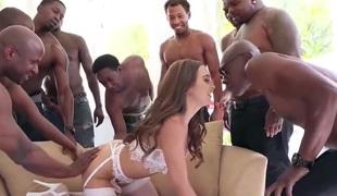 slutty junior babe enjoying interracial  orgy