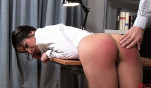 Offending bimbo bends adjacent to and gets her lovely irritant spanked nicely