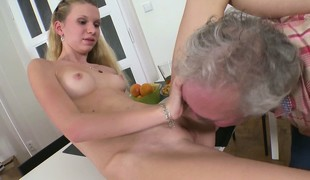 Slender pretty good with tiny tits together with sexy frontier fingers Rosy enjoys her time with an older impoverish
