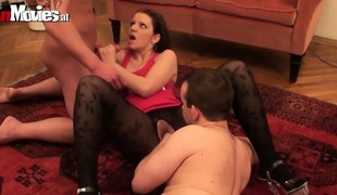 Brunette is being pick and performs on two cocks in her audition