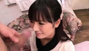 Tiny Japanese cfnm babe on knees sucking cock