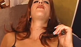 Sassy redhead in sexy panties gets cum on purposefulness not skip over upfront tits baulk object purposefulness not skip over shaved pussy drilled public house