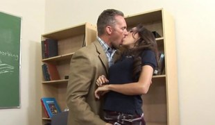 Hot crave haired brunette sucking down her teachers dick in mixed purse