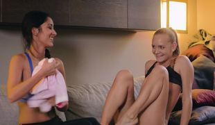 Nice lesbian scene of two teen babes with skinny bodies