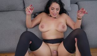 Slut sucks on a fat cock and gets a good fucking