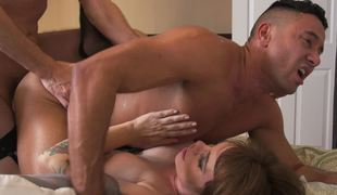 Crazy cuckold action of slutty wife, stallion, and sissy boy