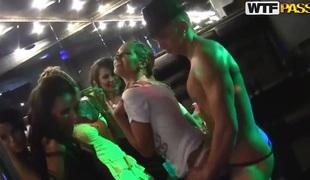 Sexy Russian lesbians fucking in eradicate affect strip club!