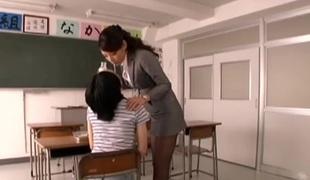 Lovely Japanese milf Kaede Imamura deepthroats her student
