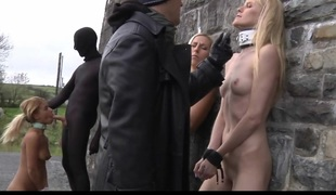 Trying Masters tortures his slave in an empty castel