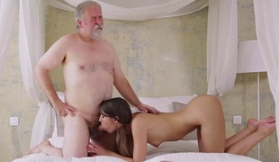 Young Marisa was feeling pretty horny and even though this dude was old she had to suck her high horse cock!