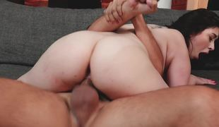 Girl gets dick on top and circa his length disappears inside her